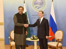 Prime Minister Shahid Khaqan Abbasi shaking hand with  Prime Minister of the Russian Federation Mr. Dmitry Medvedev in Sochi, Russia on November 30, 2017.